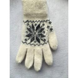 Перчатки женские Белые с черным рисунко
