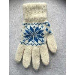 Перчатки женские Белые с синей вставкой и белым рисунком