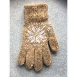 Перчатки женские Песок с белым рисунко
