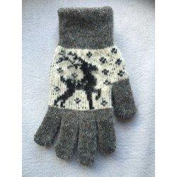 """Перчатки женские Светло-серые с рисунком """"Олень"""""""