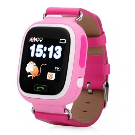 Детские часы с GPS Baby Watch Q90 с сенсорным цветным экраном (розовые)