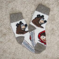 Носочки детские Маша и Медведь (бело-серые)