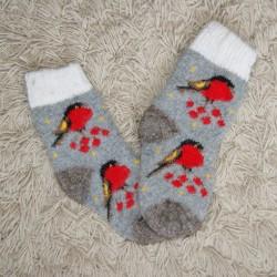 Носочки детские Снегири (серые)