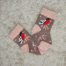 Носочки детские Снегири (коричнево-песочные)