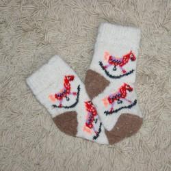 Носочки детские Лошадь-качалка (бело-коричневые)
