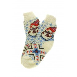 "Носки женские Супер белые с рисунком ""Снеговик"""