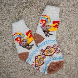 Носки шерстяные женские Петушок ( коричневая пятка )
