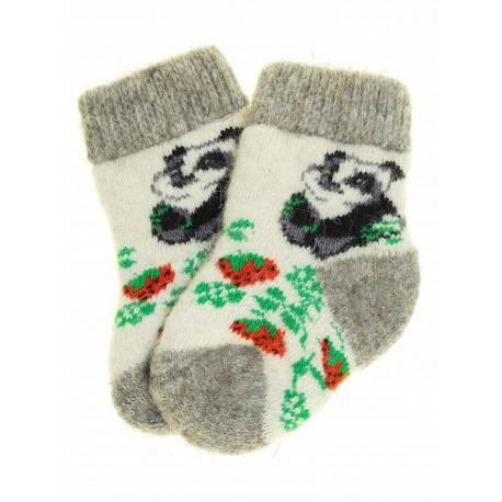 """Носочки детские """"Панда"""" (Серо-белые с рисунком """"панда"""") 1-3 годика"""