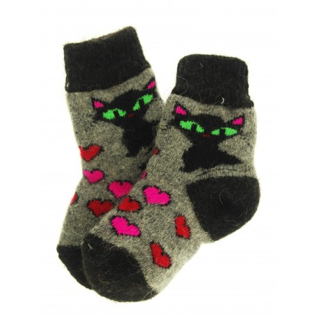 "Носочки детские ""Кошка и сердечки"" (Серо-черные с рисунком ""кошка и сердечки"") 3-5 лет"