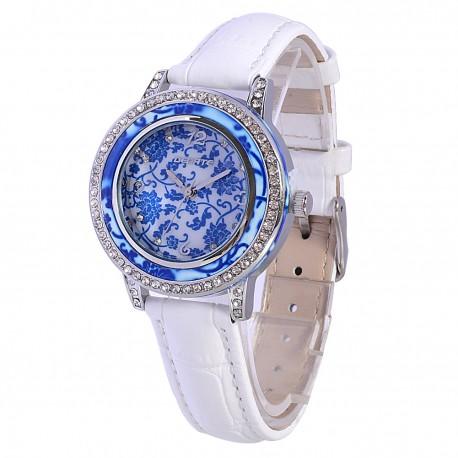 Деревянные часы Bewell ZS-1065A (white blue)