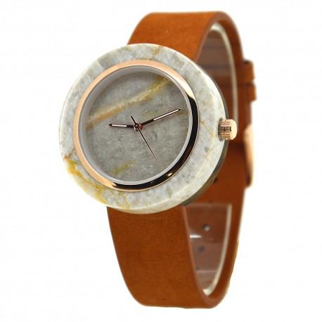 Деревянные часы Bewell ZS-W133A (мрамор, кожа)