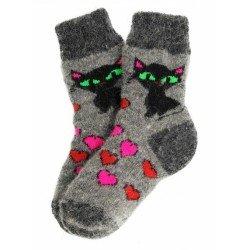 """Носки детские """"Кошка и сердечки"""" (Асфальт-серые с рисунком """"Кошка и сердечки"""", размер 2)"""