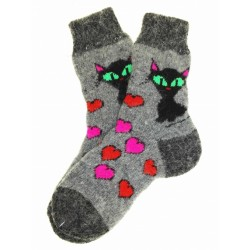 "Носки детские ""Кошка и сердечки"" (Черно-серые с рисунком ""Кошка и сердечки"", размер 3)"